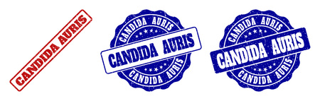 CANDIDA AURIS grunge stamp seals in red and blue colors. Vector CANDIDA AURIS overlays with grunge effect. Graphic elements are rounded rectangles, rosettes, circles and text titles.