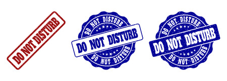 DO NOT DISTURB scratched stamp seals in red and blue colors. Vector DO NOT DISTURB watermarks with grainy effect. Graphic elements are rounded rectangles, rosettes, circles and text titles.