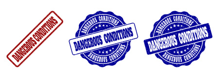 DANGEROUS CONDITIONS scratched stamp seals in red and blue colors. Vector DANGEROUS CONDITIONS labels with draft texture. Graphic elements are rounded rectangles, rosettes, circles and text labels. Vektorové ilustrace