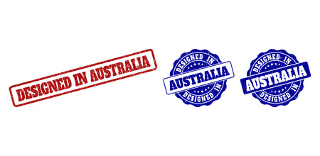 DESIGNED IN AUSTRALIA grunge stamp seals in red and blue colors. Vector DESIGNED IN AUSTRALIA watermarks with grunge texture. Graphic elements are rounded rectangles, rosettes, circles and text tags.