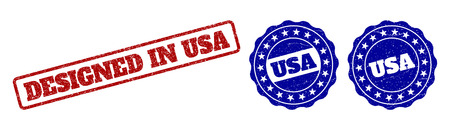 DESIGNED IN USA scratched stamp seals in red and blue colors. Vector DESIGNED IN USA imprints with grainy effect. Graphic elements are rounded rectangles, rosettes, circles and text captions. Çizim
