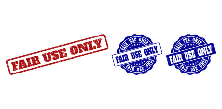 FAIR USE ONLY grunge stamp seals in red and blue colors. Vector FAIR USE ONLY marks with grunge texture. Graphic elements are rounded rectangles, rosettes, circles and text labels. Stock Photo