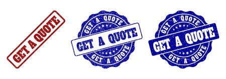 GET A QUOTE grunge stamp seals in red and blue colors. Vector GET A QUOTE overlays with grunge style. Graphic elements are rounded rectangles, rosettes, circles and text tags.