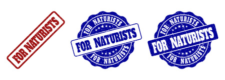 FOR NATURISTS grunge stamp seals in red and blue colors. Vector FOR NATURISTS signs with grunge texture. Graphic elements are rounded rectangles, rosettes, circles and text labels. Illustration