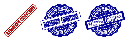 HAZARDOUS CONDITIONS grunge stamp seals in red and blue colors. Vector HAZARDOUS CONDITIONS watermarks with grunge texture. Graphic elements are rounded rectangles, rosettes,