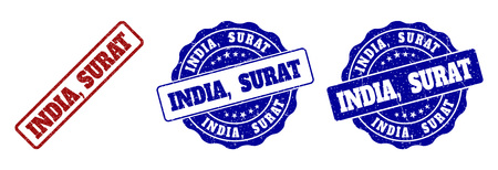 INDIA, SURAT grunge stamp seals in red and blue colors. Vector INDIA, SURAT imprints with grunge style. Graphic elements are rounded rectangles, rosettes, circles and text captions. Stock Vector - 127098977