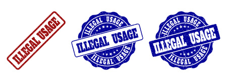 ILLEGAL USAGE scratched stamp seals in red and blue colors. Vector ILLEGAL USAGE overlays with scratced effect. Graphic elements are rounded rectangles, rosettes, circles and text titles.