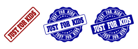 JUST FOR KIDS grunge stamp seals in red and blue colors. Vector JUST FOR KIDS overlays with grunge style. Graphic elements are rounded rectangles, rosettes, circles and text tags.