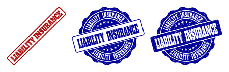 LIABILITY INSURANCE scratched stamp seals in red and blue colors. Vector LIABILITY INSURANCE labels with grunge surface. Graphic elements are rounded rectangles, rosettes, circles and text labels.