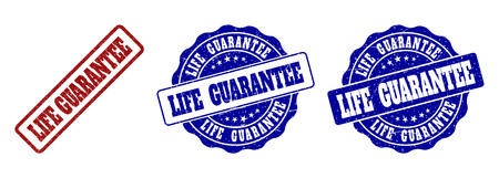 LIFE GUARANTEE grunge stamp seals in red and blue colors. Vector LIFE GUARANTEE labels with grunge surface. Graphic elements are rounded rectangles, rosettes, circles and text labels. Stock Vector - 127099002