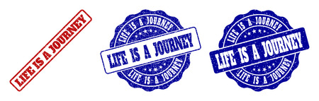 LIFE IS A JOURNEY grunge stamp seals in red and blue colors. Vector LIFE IS A JOURNEY signs with grunge texture. Graphic elements are rounded rectangles, rosettes, circles and text tags.