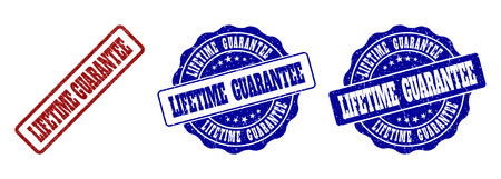 LIFETIME GUARANTEE grunge stamp seals in red and blue colors. Vector LIFETIME GUARANTEE labels with grunge effect. Graphic elements are rounded rectangles, rosettes, circles and text titles.