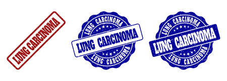 LUNG CARCINOMA scratched stamp seals in red and blue colors. Vector LUNG CARCINOMA labels with dirty surface. Graphic elements are rounded rectangles, rosettes, circles and text labels.