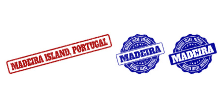 MADEIRA ISLAND, PORTUGAL grunge stamp seals in red and blue colors. Vector MADEIRA ISLAND, PORTUGAL labels with draft surface. Graphic elements are rounded rectangles, rosettes,