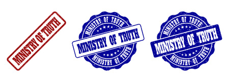 MINISTRY OF TRUTH grunge stamp seals in red and blue colors. Vector MINISTRY OF TRUTH signs with grunge texture. Graphic elements are rounded rectangles, rosettes, circles and text tags.