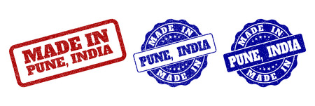 MADE IN PUNE, INDIA grunge stamp seals in red and blue colors. Vector MADE IN PUNE, INDIA signs with grunge style. Graphic elements are rounded rectangles, rosettes, circles and text tags.