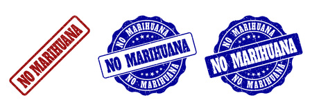 NO MARIHUANA grunge stamp seals in red and blue colors. Vector NO MARIHUANA labels with scratced surface. Graphic elements are rounded rectangles, rosettes, circles and text labels. Illustration