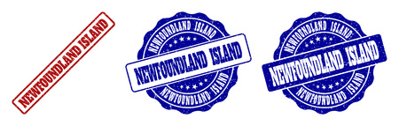 NEWFOUNDLAND ISLAND grunge stamp seals in red and blue colors. Vector NEWFOUNDLAND ISLAND marks with grunge effect. Graphic elements are rounded rectangles, rosettes, circles and text tags.