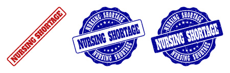 NURSING SHORTAGE grunge stamp seals in red and blue colors. Vector NURSING SHORTAGE imprints with grunge texture. Graphic elements are rounded rectangles, rosettes, circles and text labels. 向量圖像