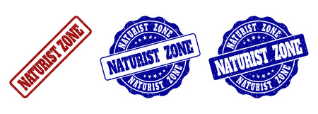 NATURIST ZONE grunge stamp seals in red and blue colors. Vector NATURIST ZONE labels with draft texture. Graphic elements are rounded rectangles, rosettes, circles and text labels. 向量圖像
