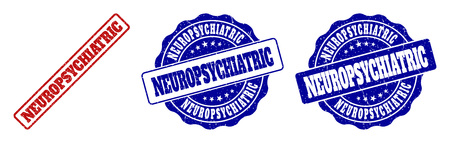 NEUROPSYCHIATRIC scratched stamp seals in red and blue colors. Vector NEUROPSYCHIATRIC labels with grainy effect. Graphic elements are rounded rectangles, rosettes, circles and text labels.
