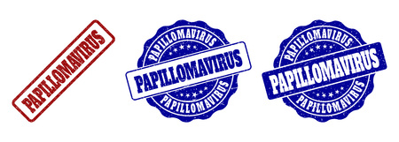 PAPILLOMAVIRUS grunge stamp seals in red and blue colors. Vector PAPILLOMAVIRUS marks with grainy style. Graphic elements are rounded rectangles, rosettes, circles and text captions.