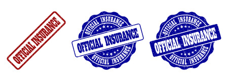 OFFICIAL INSURANCE grunge stamp seals in red and blue colors. Vector OFFICIAL INSURANCE overlays with grainy style. Graphic elements are rounded rectangles, rosettes, circles and text captions. Vectores