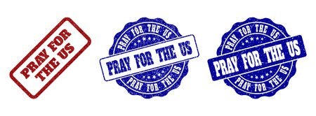 PRAY FOR THE US grunge stamp seals in red and blue colors. Vector PRAY FOR THE US labels with dirty effect. Graphic elements are rounded rectangles, rosettes, circles and text labels.
