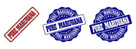 PURE MARIJUANA grunge stamp seals in red and blue colors. Vector PURE MARIJUANA watermarks with grunge effect. Graphic elements are rounded rectangles, rosettes, circles and text titles.