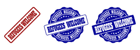 REFUGEES WELCOME grunge stamp seals in red and blue colors. Vector REFUGEES WELCOME labels with grunge texture. Graphic elements are rounded rectangles, rosettes, circles and text titles.