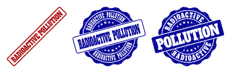 RADIOACTIVE POLLUTION grunge stamp seals in red and blue colors. Vector RADIOACTIVE POLLUTION labels with grunge style. Graphic elements are rounded rectangles, rosettes, circles and text captions.