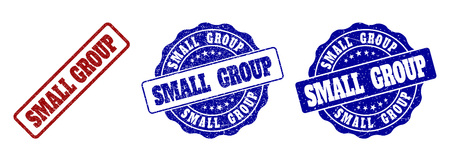 SMALL GROUP scratched stamp seals in red and blue colors. Vector SMALL GROUP labels with distress texture. Graphic elements are rounded rectangles, rosettes, circles and text labels. Vettoriali