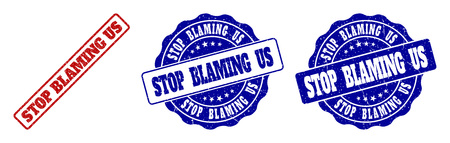 STOP BLAMING US grunge stamp seals in red and blue colors. Vector STOP BLAMING US watermarks with grunge texture. Graphic elements are rounded rectangles, rosettes, circles and text titles.