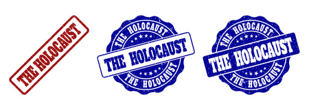 THE HOLOCAUST grunge stamp seals in red and blue colors. Vector THE HOLOCAUST signs with grunge effect. Graphic elements are rounded rectangles, rosettes, circles and text labels. Illustration