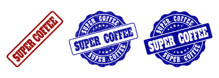 SUPER COFFEE scratched stamp seals in red and blue colors. Vector SUPER COFFEE labels with grainy effect. Graphic elements are rounded rectangles, rosettes, circles and text titles.