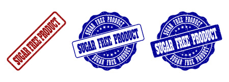 SUGAR FREE PRODUCT grunge stamp seals in red and blue colors. Vector SUGAR FREE PRODUCT watermarks with grunge style. Graphic elements are rounded rectangles, rosettes, circles and text captions. Stok Fotoğraf