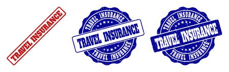Sellos de sello de grunge de seguro de viaje en colores rojo y azul. Vector de señales de seguro de viaje con textura grunge. Los elementos gráficos son rectángulos redondeados, rosetas, círculos y etiquetas de texto.