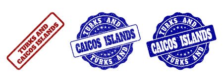 TURKS AND CAICOS ISLANDS grunge stamp seals in red and blue colors. Vector TURKS AND CAICOS ISLANDS labels with grainy surface. Graphic elements are rounded rectangles, rosettes, 矢量图像