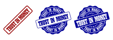TRUST IN MONEY grunge stamp seals in red and blue colors. Vector TRUST IN MONEY imprints with grunge effect. Graphic elements are rounded rectangles, rosettes, circles and text captions.