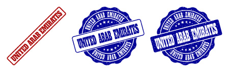 UNITED ARAB EMIRATES scratched stamp seals in red and blue colors. Vector UNITED ARAB EMIRATES labels with scratced effect. Graphic elements are rounded rectangles, rosettes, circles and text labels.