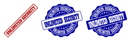 UNLIMITED SECURITY grunge stamp seals in red and blue colors. Vector UNLIMITED SECURITY labels with scratced surface. Graphic elements are rounded rectangles, rosettes, circles and text labels.
