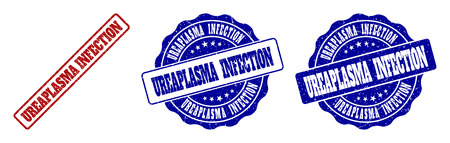 UREAPLASMA INFECTION grunge stamp seals in red and blue colors. Vector UREAPLASMA INFECTION marks with grunge texture. Graphic elements are rounded rectangles, rosettes, circles and text titles. Illustration