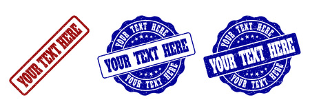YOUR TEXT HERE grunge stamp seals in red and blue colors. Vector YOUR TEXT HERE labels with distress surface. Graphic elements are rounded rectangles, rosettes, circles and text captions. Illustration