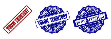 YUKON TERRITORY grunge stamp seals in red and blue colors. Vector YUKON TERRITORY signs with grunge surface. Graphic elements are rounded rectangles, rosettes, circles and text titles. Illustration