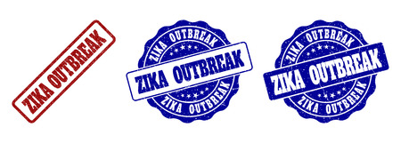 ZIKA OUTBREAK grunge stamp seals in red and blue colors. Vector ZIKA OUTBREAK signs with grunge texture. Graphic elements are rounded rectangles, rosettes, circles and text labels.