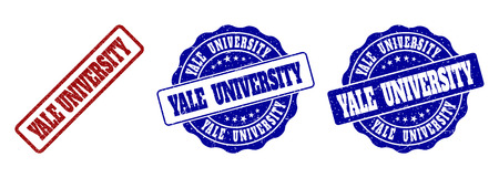 YALE UNIVERSITY grunge stamp seals in red and blue colors. Vector YALE UNIVERSITY signs with grainy texture. Graphic elements are rounded rectangles, rosettes, circles and text tags.