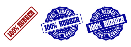 100% RUBBER grunge stamp seals in red and blue colors. Vector 100% RUBBER imprints with dirty effect. Graphic elements are rounded rectangles, rosettes, circles and text titles. Ilustração