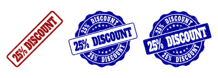 25% DISCOUNT scratched stamp seals in red and blue colors. Vector 25% DISCOUNT imprints with distress effect. Graphic elements are rounded rectangles, rosettes, circles and text labels.
