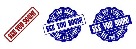 SEE YOU SOON! scratched stamp seals in red and blue colors. Vector SEE YOU SOON! labels with scratced effect. Graphic elements are rounded rectangles, rosettes, circles and text captions.