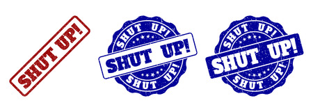 SHUT UP! grunge stamp seals in red and blue colors. Vector SHUT UP! watermarks with grunge effect. Graphic elements are rounded rectangles, rosettes, circles and text titles.